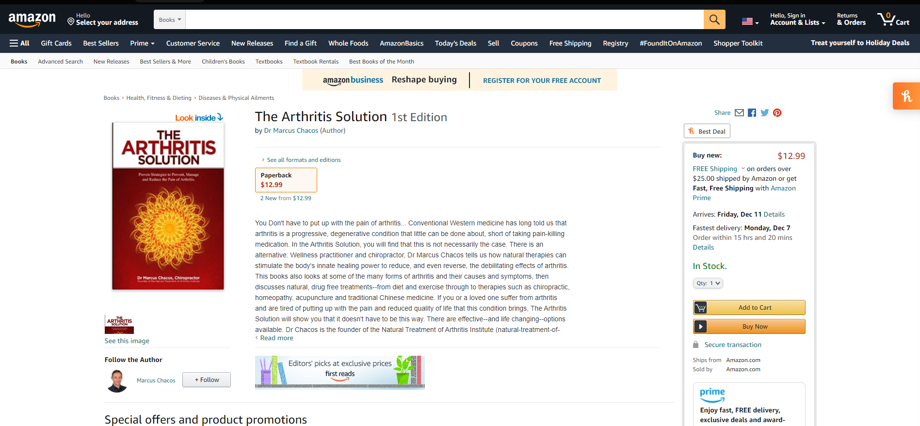selling a chiropractic book on amazon