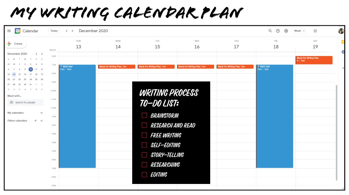 Example of Book Writing Calendar Plan